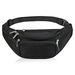 5-Zipper Pockets Waist Bag Belt Nylon Multifunctional For Wo