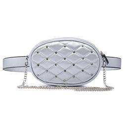 Diamond Design Waist Packs Silver Quilted PU Leather Shoulde