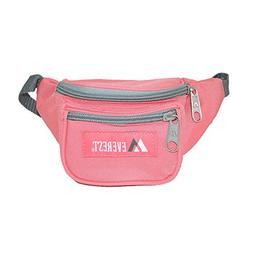 Everest Girls' Fabric Waist Pack Purse, Coral Pink/Grey