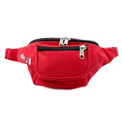 Everest Signature Embroidery Waist Pack, Red, One Size