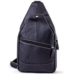 Genuine Leather Shoulder Sling Backpack Bag Unisex Outdoor C