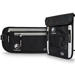 RFID Blocking Money Belt Travel Wallet and Neck Pouch Passpo