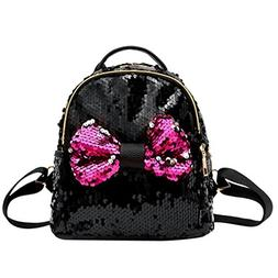 Sequins Bow Tie School Backpack for Girls and Teen Daypack T