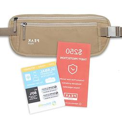 Travel Money Belt with built-in RFID Block - Includes Theft