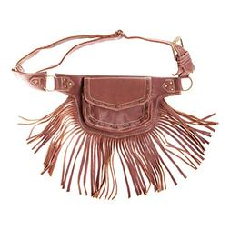 Womens Leather Fringed Festival Hip Pack Utility Belt-Brown-