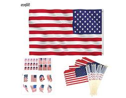 YunKo American Flag Embroidered Stars 3x5 Feet 20pcs 8x12 in