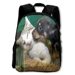 Kids Backpack Dog And Cat Animal Love Boy School Daypack Gre