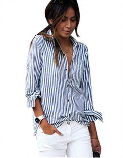 blouse striped long sleeve loose