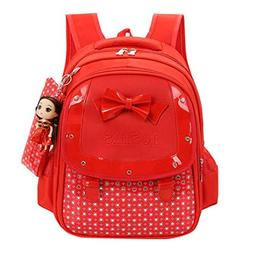 Baby Girls Kids Bowknot Heart Dot Backpack, Outsta 3Pcs Set