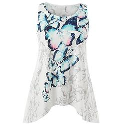 HGWXX7 Women Casual Plus Size Butterfly Print T- Shirt Blous