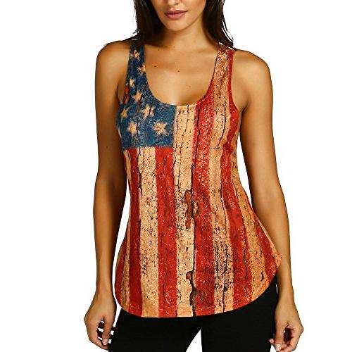 HGWXX7 American Flag Tank Tops Women Casual Lace Sleeveless