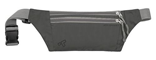 Travelon Double Zip Waist Pack, Charcoal, One Size