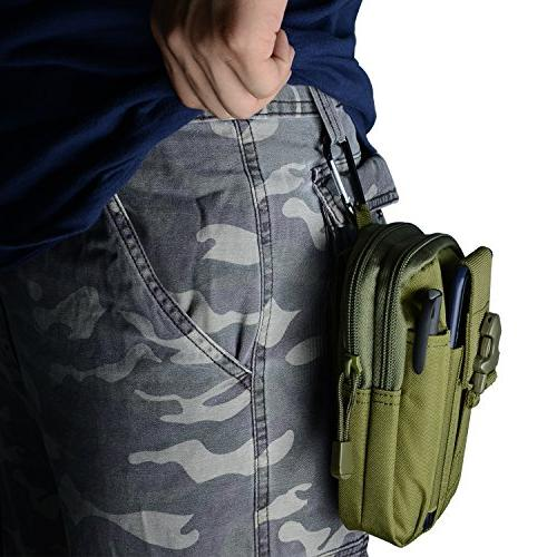 PBNICE Tactical Pack Pouch EDC Utility Gadget Belt Bag Holder 6S/7 Samsung S7 Hiking Outdoor With Climbing Carabiner