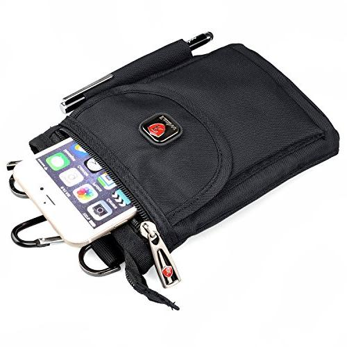 Ranboo Crossbody Shoulder Bags Loop Pouch Travel Waist Packs Strap XS Max Plus 7 8 5 Plus Sports Hiking Black
