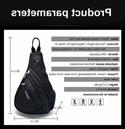 Sling Chest Backpack Multi-function Bags Sling Shoulder for Men and / / Outdoors Sports T509 Black