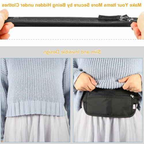 Travel Money Belt Waist Wallet Passport Pouch