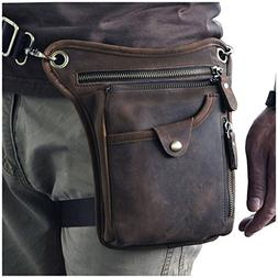 Le'aokuu Mens Genuine Leather Motorcycle Horse Riding Waist