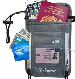 SevenBlu Passport Holder | Travel Neck Wallet w RFID Block -