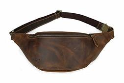 Tiding Men's Retro Genuine Cowhide Leather Vintage Waist Bag