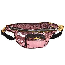 Sujing Sequins Waist Pack Casual Outdoor Sports Waist Bag Do