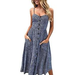 Owill Women Sexy Printing Buttons Off Shoulder Sleeveless Dr