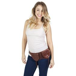 Sleek and Studded Leather Hip Belt-Brown-One Size-70169