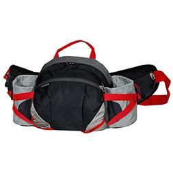 Everest Outdoor Waist Pack with Bottle Holders, Black/Gray,
