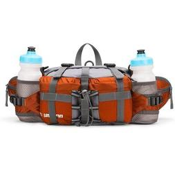 Water-Resistant Outdoor Waist Pack with 2 Water Bottle Holde